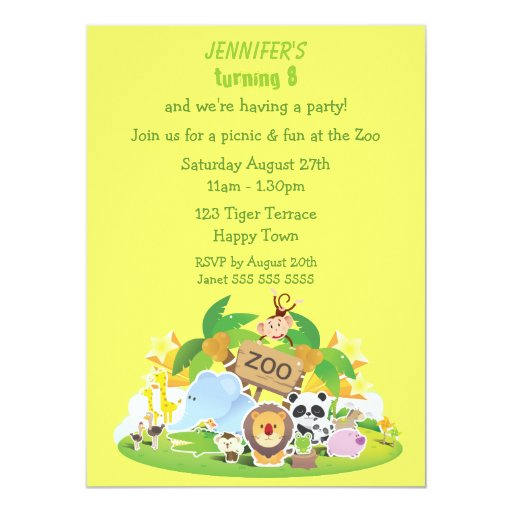 Cute Zoo Animals Birthday Party 5.5x7.5 Paper Invitation Card