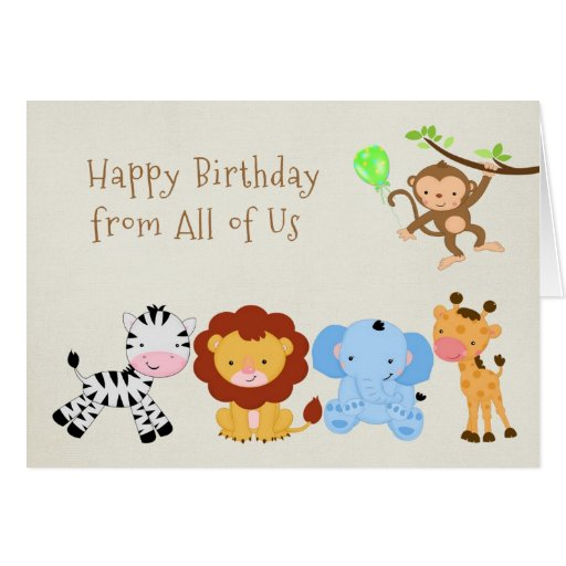 Cute Zoo Animals Greeting Cards