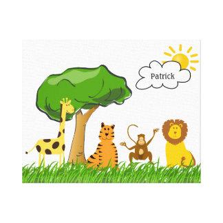 Cute Zoo Safari Jungle Animals Any Gender Baby Canvas Print