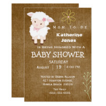 CuteLamb Neutral Baby Shower Invitation