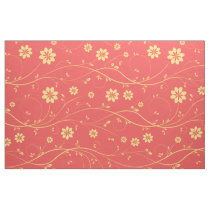 CuteLight Yellow & Coral Delicate Floral Pattern Fabric