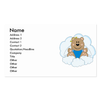 Cutelyn Baby Boy Angel Bear On Clouds Business Card Template