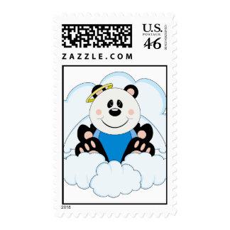 Cutelyn Baby Boy Angel Panda Bear On Clouds Postage Stamps