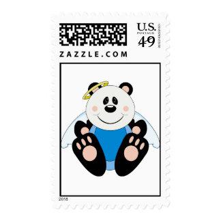 Cutelyn Baby Boy Angel Panda Bear Postage Stamps
