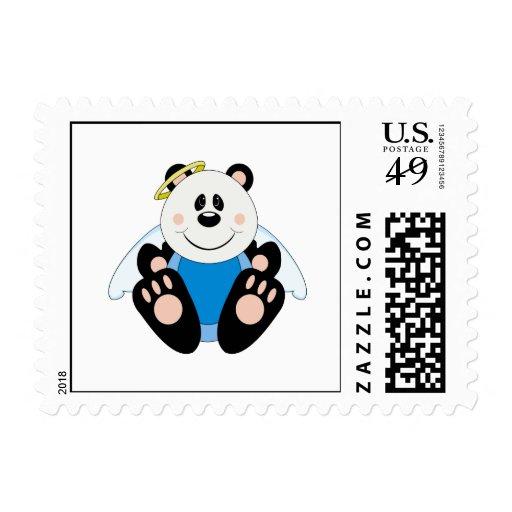 Cutelyn Baby Boy Angel Panda Bear Postage Stamp
