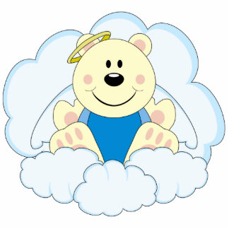 Cutelyn Baby Boy Angel Polar Bear On Clouds Cutout