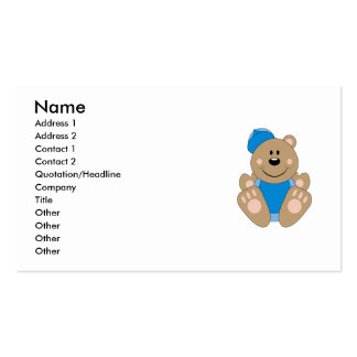 Cutelyn Baby Boy Baseball Bear Double-Sided Standard Business Cards (Pack Of 100)