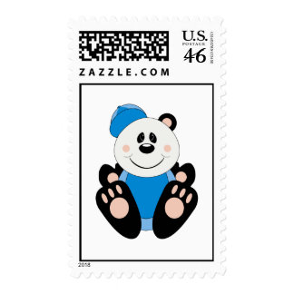 Cutelyn Baby Boy Baseball Panda Bear Postage Stamp