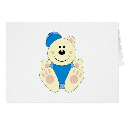 Cutelyn Baby Boy Baseball Polar Bear Greeting Card