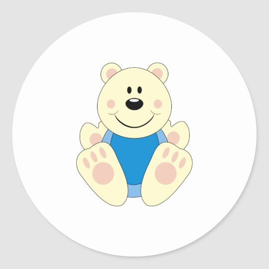 Cutelyn Baby Boy Polar Bear Classic Round Sticker