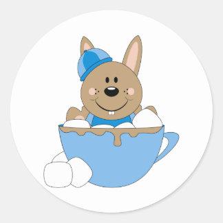 Cutelyn Baby Boy Snow Bunny Mug Round Stickers