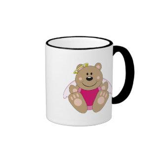 Cutelyn Baby Girl Angel Bear Ringer Coffee Mug
