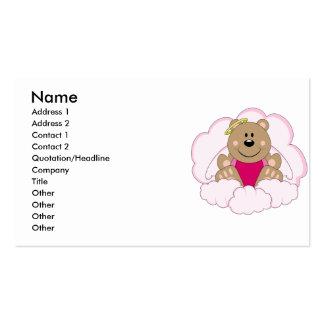 Cutelyn Baby Girl Angel Bear On Clouds Business Card Templates