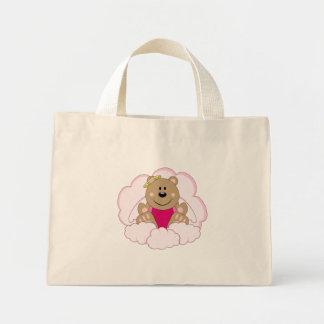 Cutelyn Baby Girl Angel Bear On Clouds Mini Tote Bag