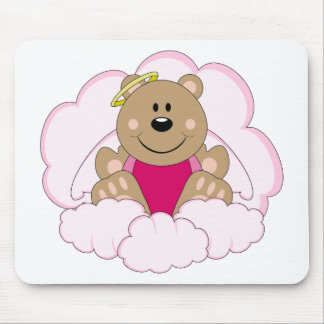 Cutelyn Baby Girl Angel Bear On Clouds Mouse Pad