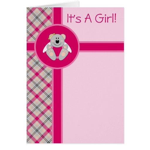 Cutelyn Baby Girl Angel Koala Bear Announcement Greeting Card
