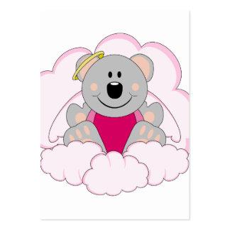 Cutelyn Baby Girl Angel Koala Bear On Clouds Business Card Template