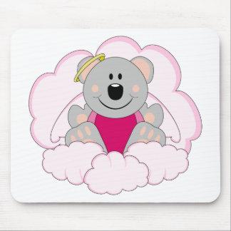 Cutelyn Baby Girl Angel Koala Bear On Clouds Mouse Pad