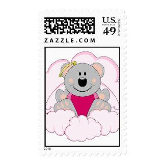 Cutelyn Baby Girl Angel Koala Bear On Clouds Postage Stamp