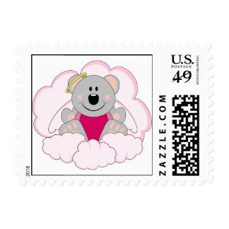 Cutelyn Baby Girl Angel Koala Bear On Clouds Postage