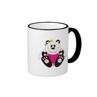 Cutelyn Baby Girl Angel Panda Bear Ringer Coffee Mug