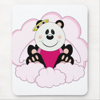 Cutelyn Baby Girl Angel Panda Bear On Clouds Mouse Pad