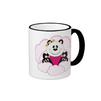 Cutelyn Baby Girl Angel Panda Bear On Clouds Ringer Coffee Mug