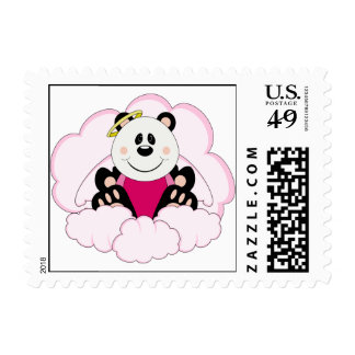 Cutelyn Baby Girl Angel Panda Bear On Clouds Stamp