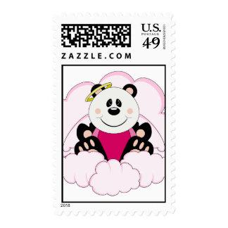 Cutelyn Baby Girl Angel Panda Bear On Clouds Stamps