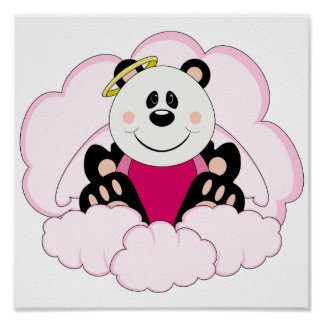 Cutelyn Baby Girl Angel Panda Bear On Clouds Print