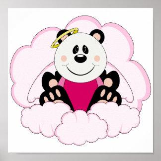 Cutelyn Baby Girl Angel Panda Bear On Clouds Poster