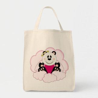 Cutelyn Baby Girl Angel Panda Bear On Clouds Tote Bag
