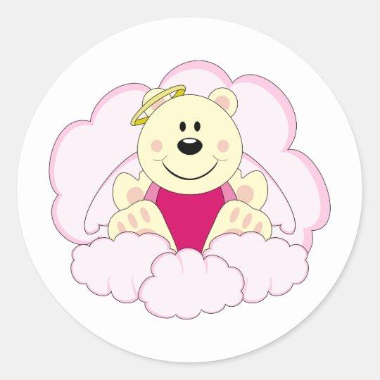 Cutelyn Baby Girl Angel Polar Bear On Clouds Classic Round Sticker