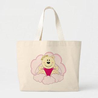 Cutelyn Baby Girl Angel Polar Bear On Clouds Large Tote Bag