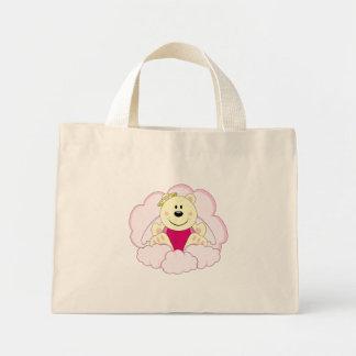 Cutelyn Baby Girl Angel Polar Bear On Clouds Mini Tote Bag