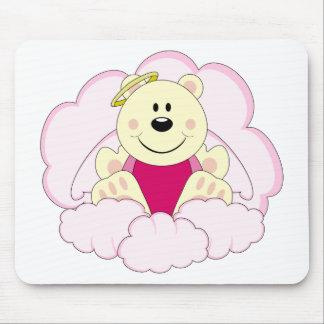 Cutelyn Baby Girl Angel Polar Bear On Clouds Mouse Pad