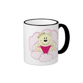 Cutelyn Baby Girl Angel Polar Bear On Clouds Ringer Coffee Mug