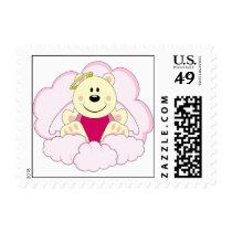 Cutelyn Baby Girl Angel Polar Bear On Clouds Postage