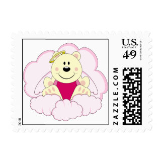 Cutelyn Baby Girl Angel Polar Bear On Clouds Stamp