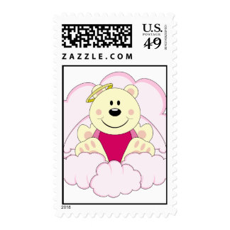 Cutelyn Baby Girl Angel Polar Bear On Clouds Postage Stamps