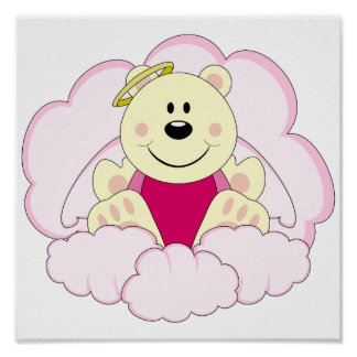 Cutelyn Baby Girl Angel Polar Bear On Clouds Poster