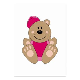 Cutelyn Baby Girl Baseball Bear Large Business Cards (Pack Of 100)