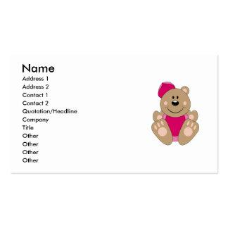 Cutelyn Baby Girl Baseball Bear Double-Sided Standard Business Cards (Pack Of 100)