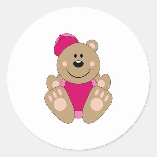 Cutelyn Baby Girl Baseball Bear Sticker