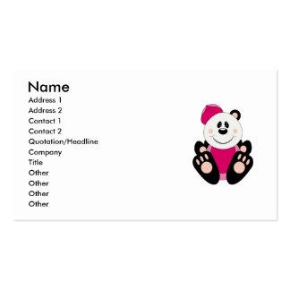 Cutelyn Baby Girl Baseball Panda Bear Double-Sided Standard Business Cards (Pack Of 100)