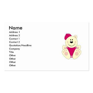 Cutelyn Baby Girl Baseball Polar Bear Double-Sided Standard Business Cards (Pack Of 100)
