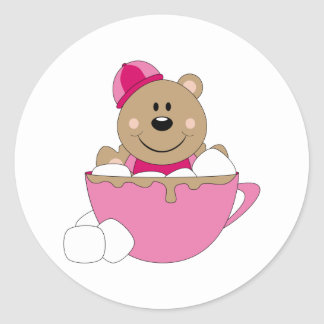 Cutelyn Baby Girl Snow Bear Mug Classic Round Sticker