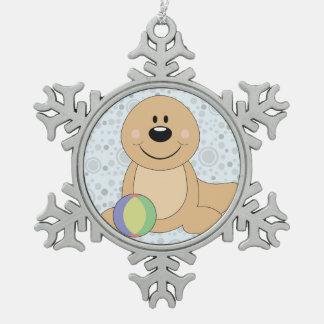 Cutelyn Baby Seal Snowflake Pewter Christmas Ornament