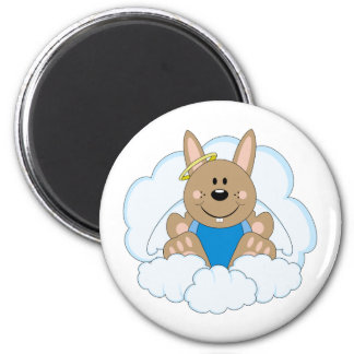 Cutelyn Brown Baby Boy Angel Bunny On Clouds 2 Inch Round Magnet