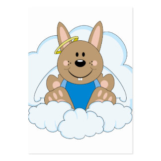 Cutelyn Brown Baby Boy Angel Bunny On Clouds Business Cards